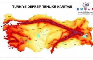 Türkiye'de deprem tehlike haritası!